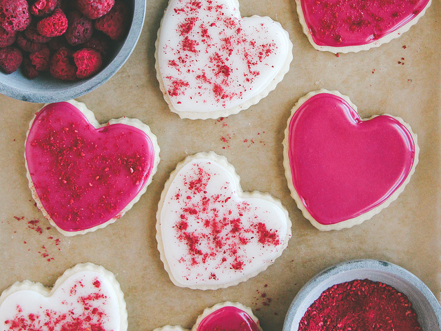 Coconut Oil Cookies with Red Beet Icing