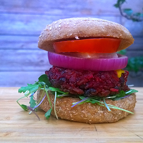 Beet and Black Bean Gluten-free Burgers