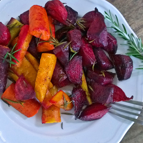 Rosemary Roasted Beets and Carrots  by  Just Beet It
