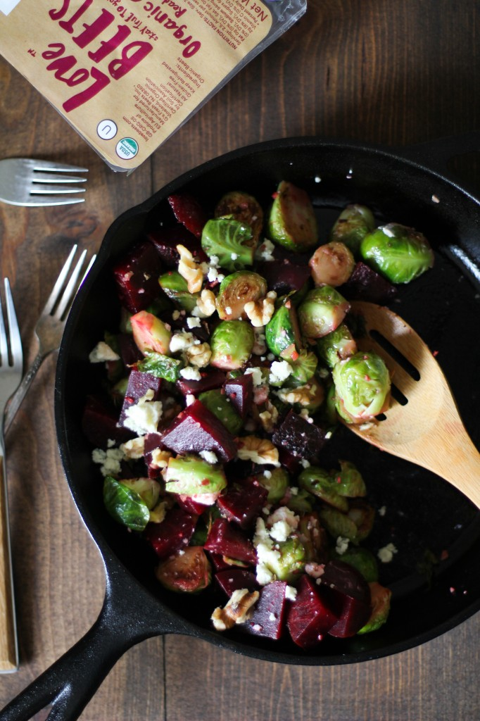 Honey-Glazed Brussels Sprouts and Beets with Blue Cheese & Walnuts  by  Love Beets