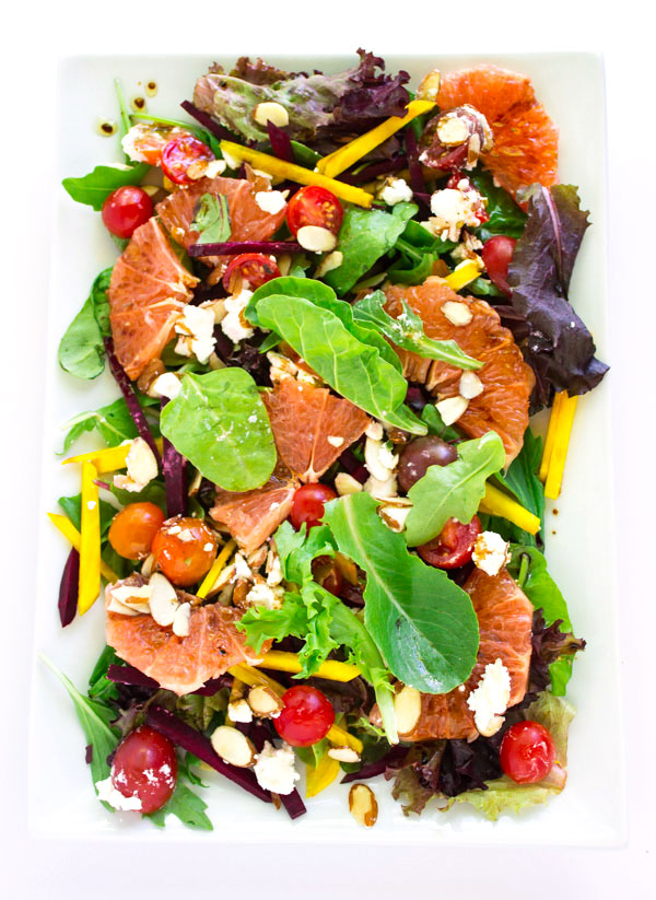 Green Salad with Grapefruit and Red & Golden Beets with Balsamic Dressing  by Pass Me Some Tasty