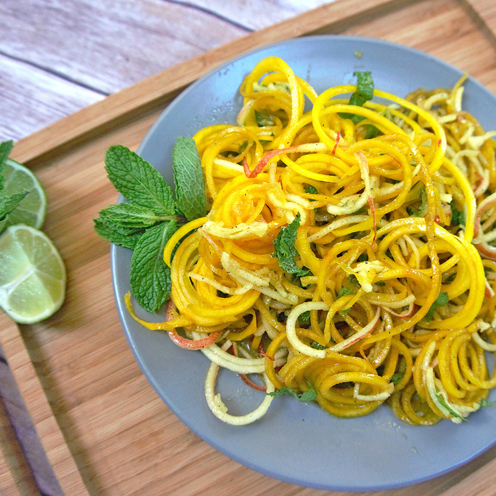 Raw Spiralized golden beet noodles with apples and mint .jpg