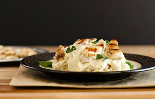 Grilled Chicken Alfredo Celeriac Noodles  by  Beauty and the Foodie