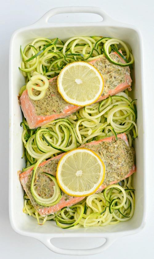 Lemon Herb Salmon Zucchini  by  Skinny Fitalicious