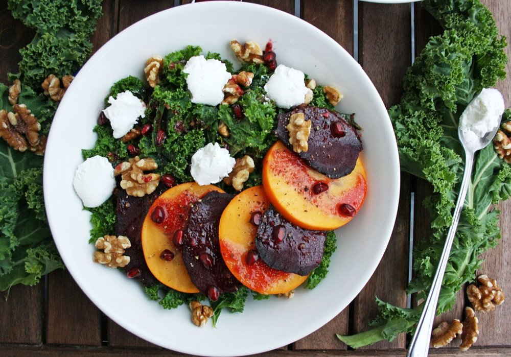 Beetroot Salad with Persimmon, Kale, and Goat Cheese  by  Happy Kitchen Rocks