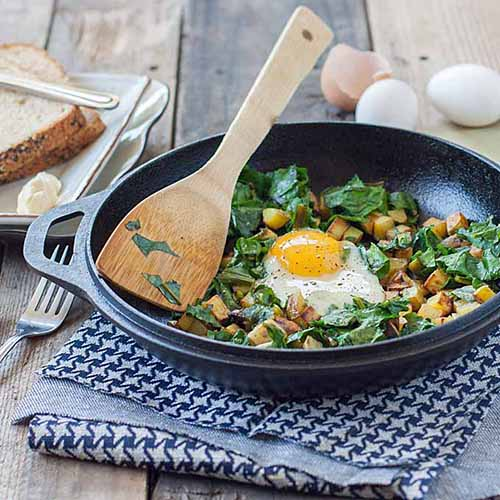 Potato and Beet Green Hash  by  Foodal
