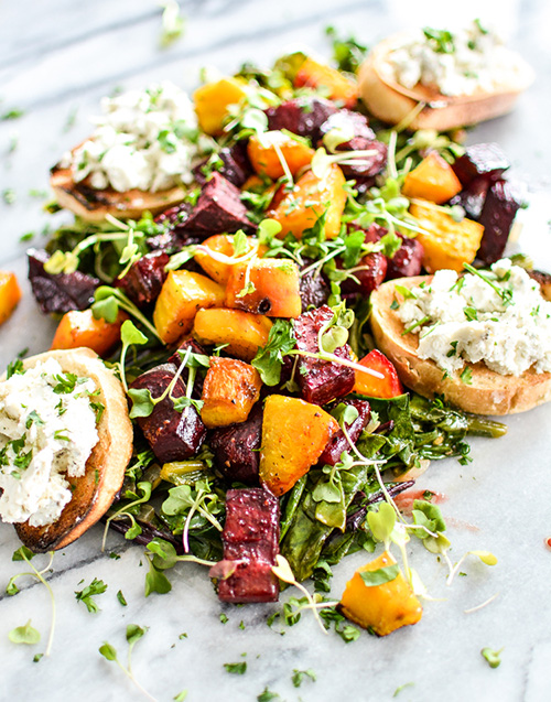 Roasted Beets and Beet Greens with Goat Cheese Crostini  by  Cooking and Beer
