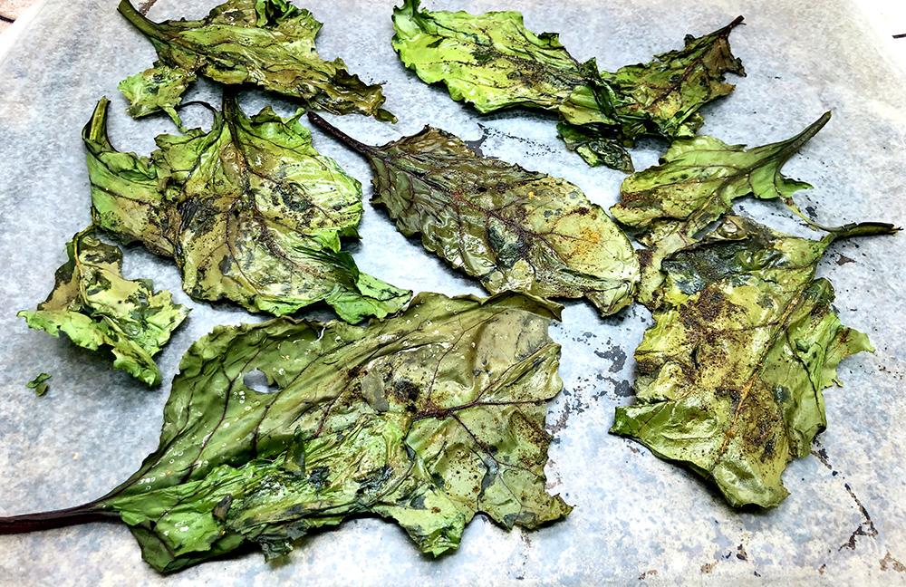 Baked Beet Greens Chips  by  Just Beet It