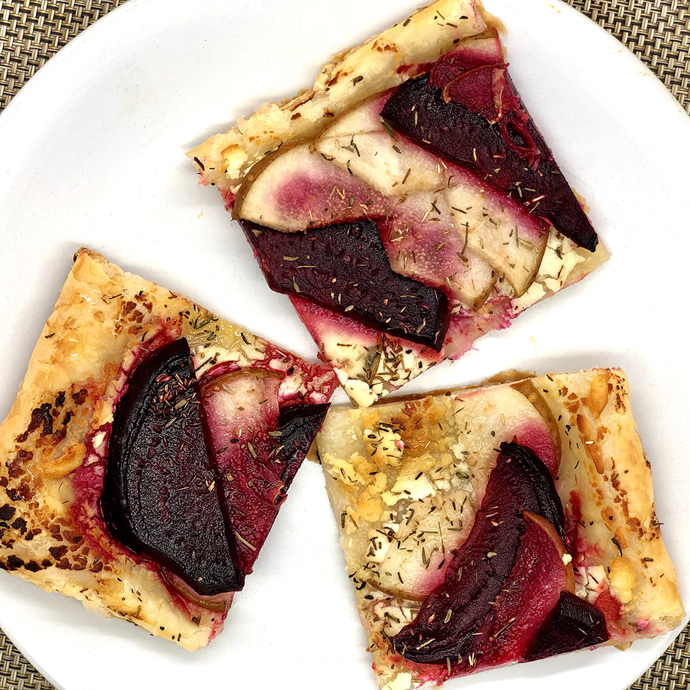 Beet, Pear, and Thyme Tart with Honey and Goat Cheese