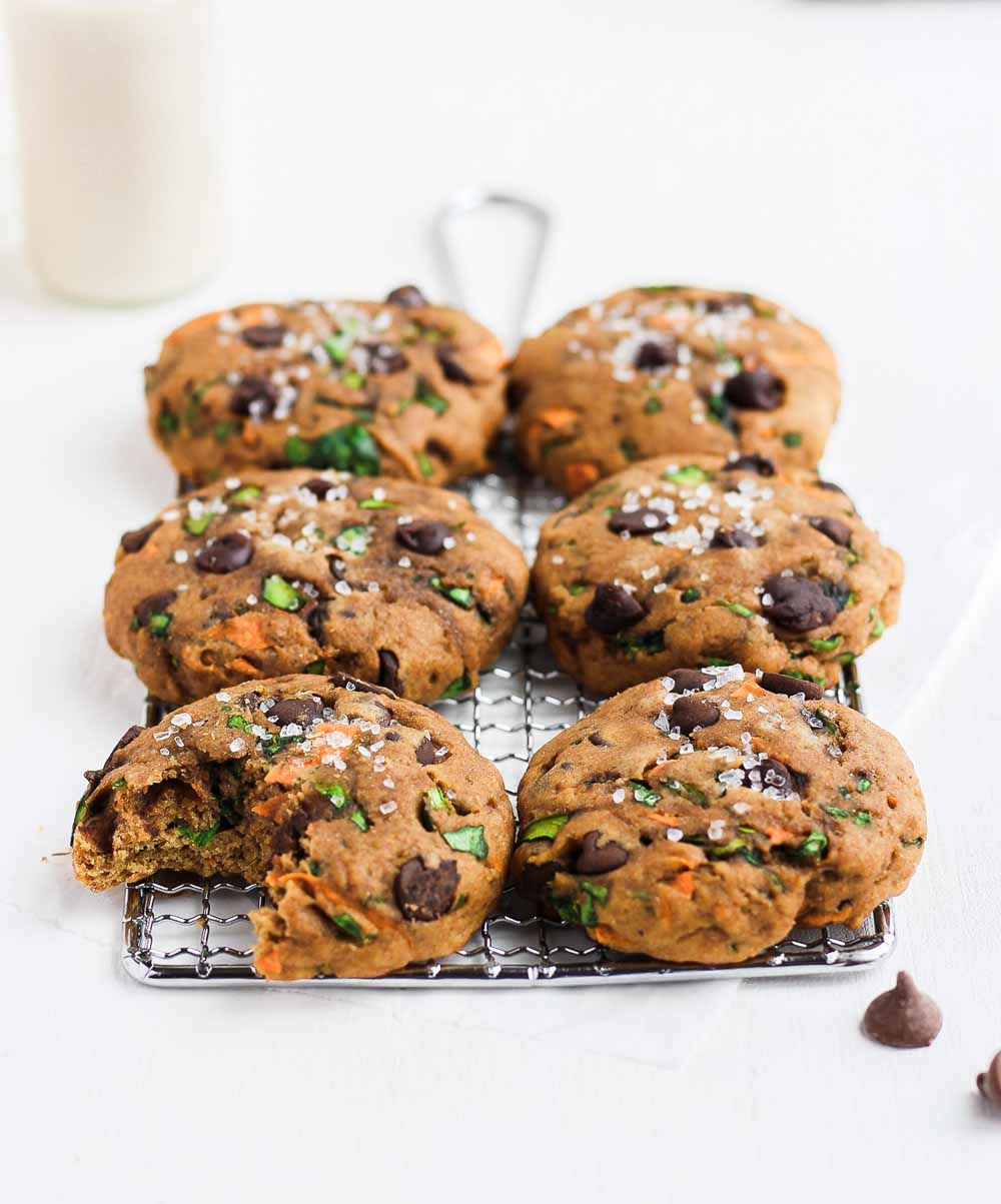Healthy Chocolate Chip Cookies with Spinach, Carrots, and Zucchini  by  The Wooden Skillet