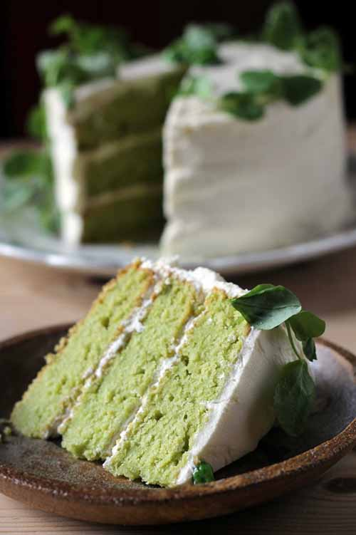 Vanilla and Pea Cake with Lemon Icing and Pea Shoots  by  Veggie Desserts