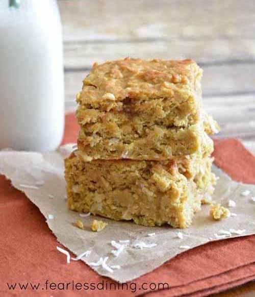 Gluten Free Caramel Cake Butternut Squash Bars  by  Fearless Dining