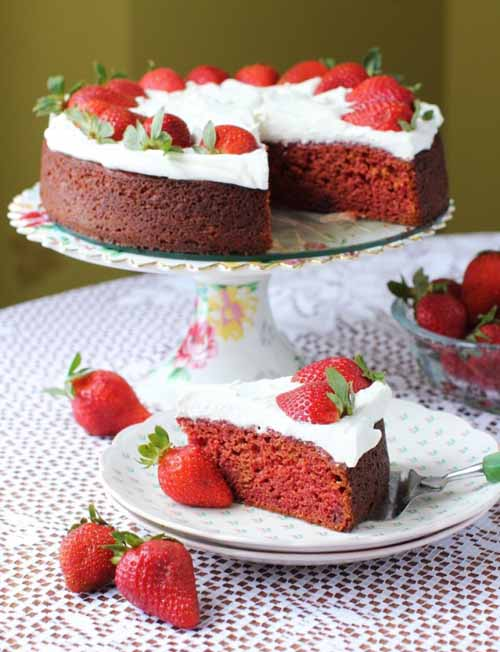 Strawberry Velvet Cake (with Pureed Beets)  by  Kitchen Frau