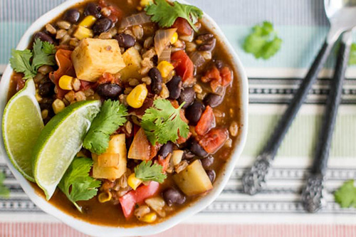 Vegetarian Chili Recipe with Sweet Potato, Black Beans and Farro  by  Natash LH
