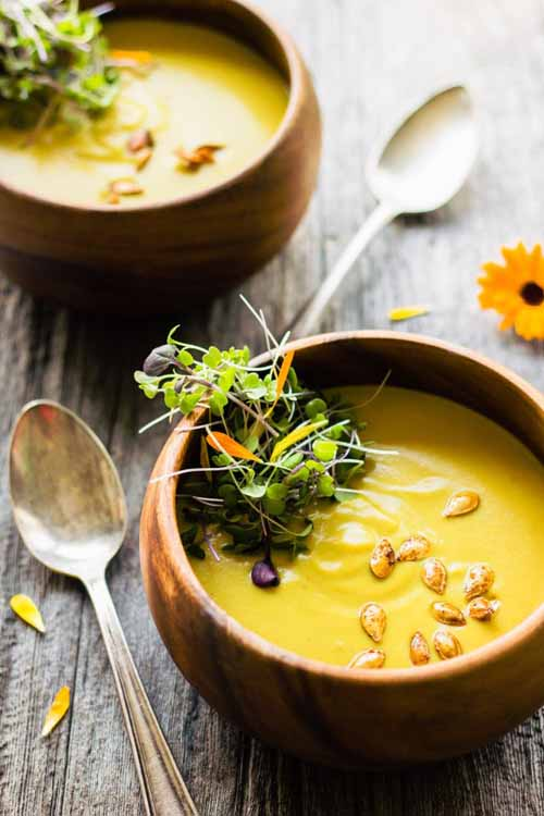 Curried Acorn Squash Cream Soup with Coconut Milk  by  One Clever Chef