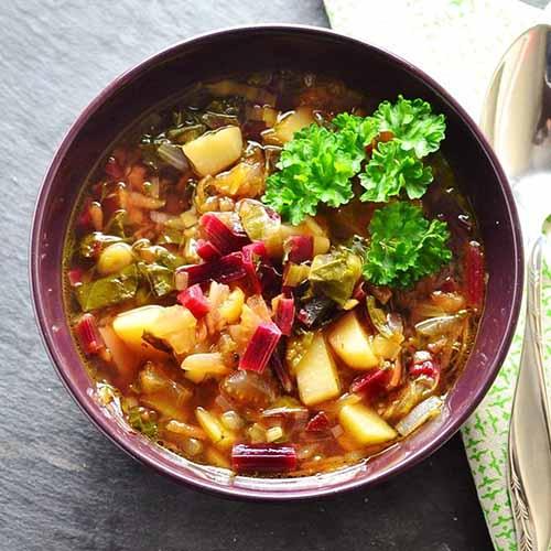 Beet Greens & Stems Vegetable Soup