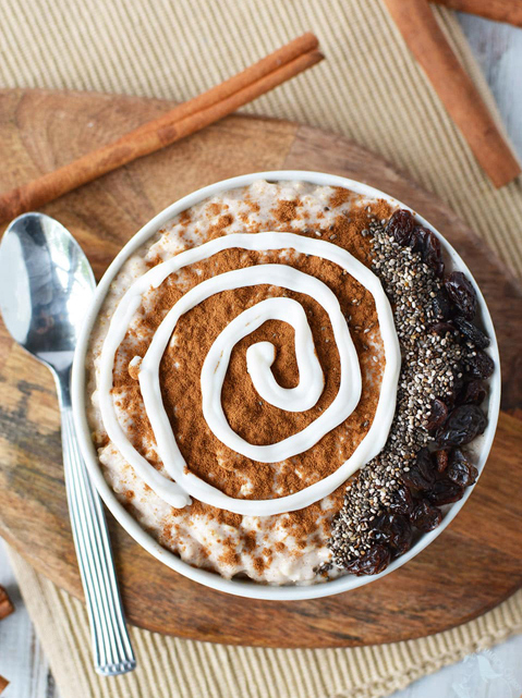 """CINNAMON ROLL SMOOTHIE BOWL     by  A Magical Mess    """"The topping of this smoothie bowl contains chia seeds, and that's not just because they look cool. Tiny chia seeds pack a big nutritional punch. Chia seeds are an excellent source of omega-3 fatty acids, rich in antioxidants, and they provide fiber, iron, and calcium."""""""