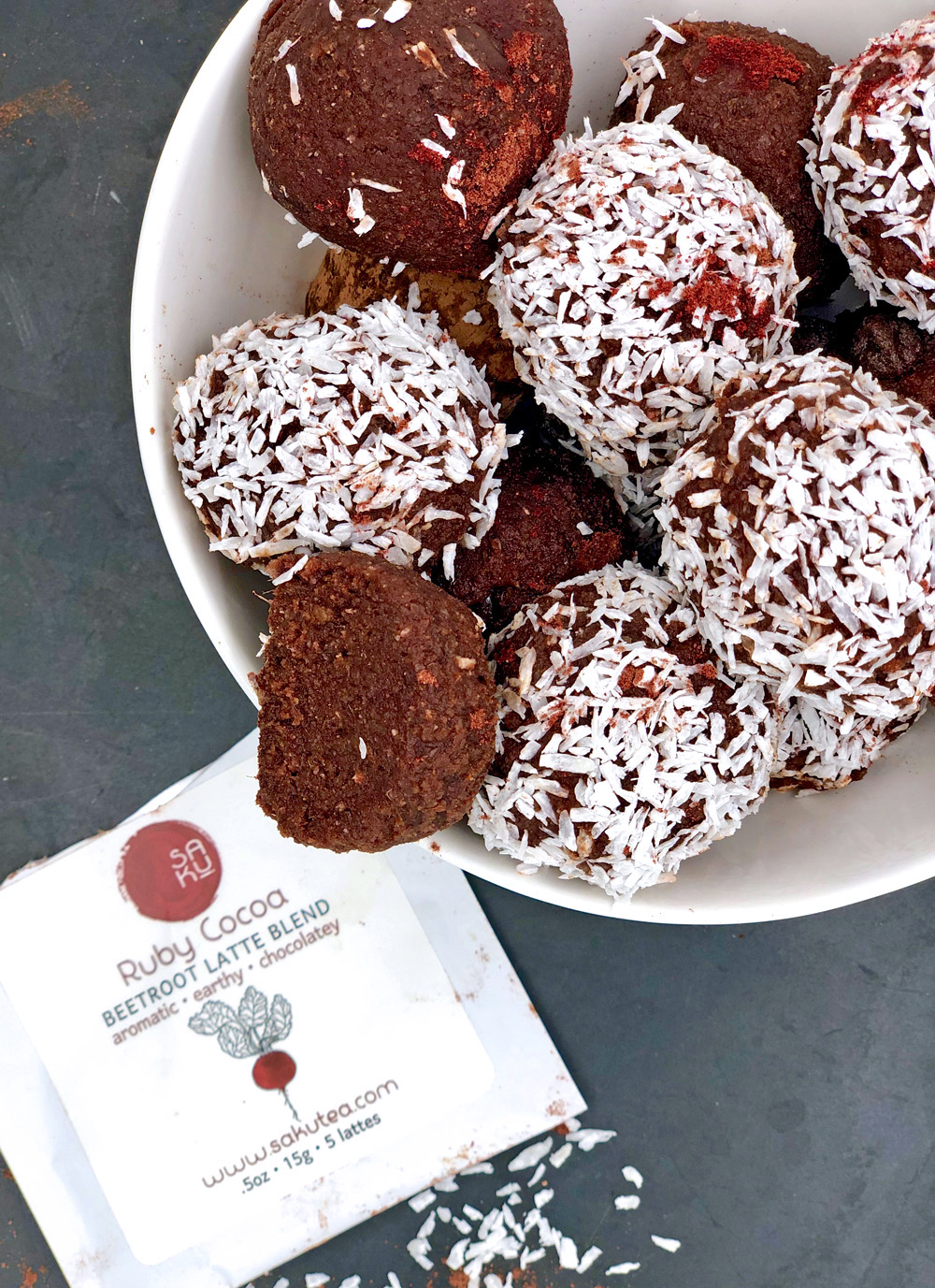 beet chocolate latte energy and protein bites