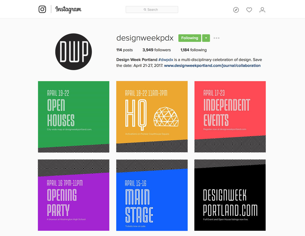 Design Week Portland Instagram grid