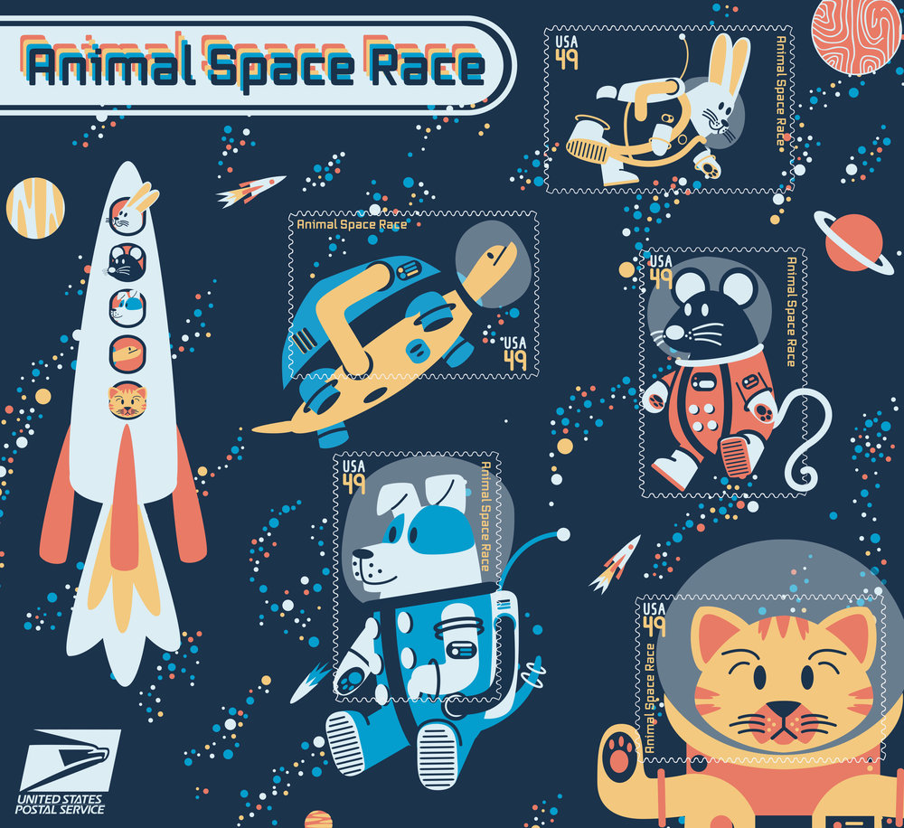 Space Animals Illustrated Stamp Set