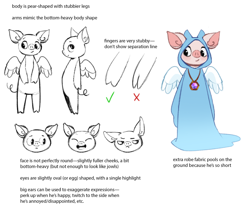 My model sheet and design notes for Mr. Peeg.