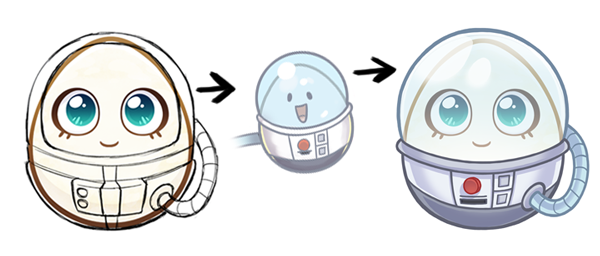 Some of the details on the spacesuit changed from rough to final because we wanted it to match the design of the spacesuit-wearing Egg seen in the Nerdy sleeping minigame.