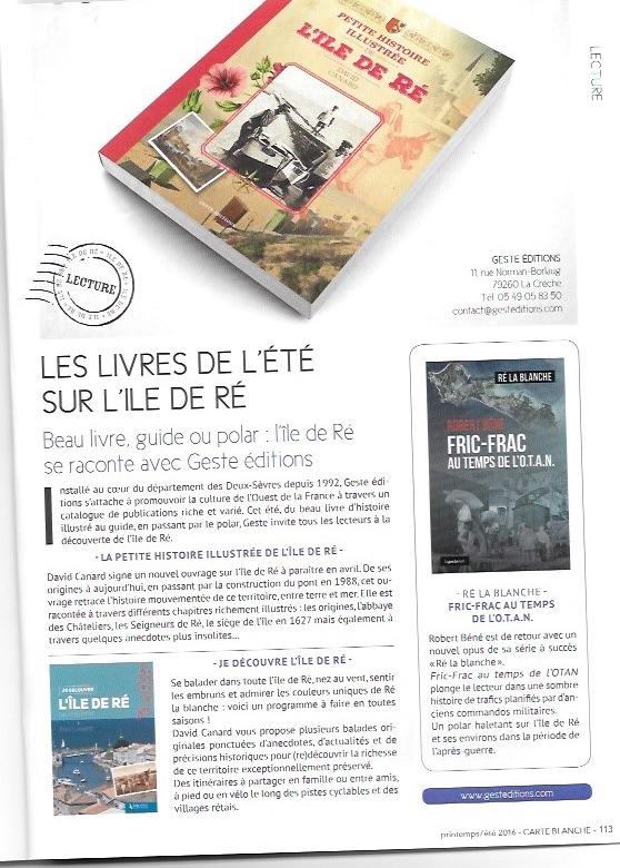 Parue dans le magazine gratuit édité par le journal Le Phare de Ré pour le printemps/été 2016