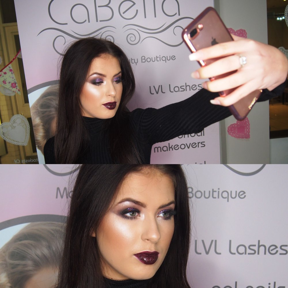 LOOK 1   We love a dark lip here at CaBella and this Milani Lip Creme in shade Sugar is giving us serious stocking filler inspo! We stock these in store for just £10 and if you are looking for a Kylie Lip Kit dupe then deffo check these out, also they last for around 6-8 hours (sometimes even 10! And yes we have tested!) which is why we love them even more!  At Christmas we all love a bit of glitter which is why we opted for a glitter smokey eye for this look! We used a pink & purple loose glitter and we used the Morphe 35O palette for the crease and outer corner colours!  For the face we are still obsessing over Loreal True Match Foundation! Jordan is wearing shade 3.D/3.W and we applied this using our fave brush out of our CaBella Brush Set CB52! It is the best brush everrrrrrrrrrrrrr!
