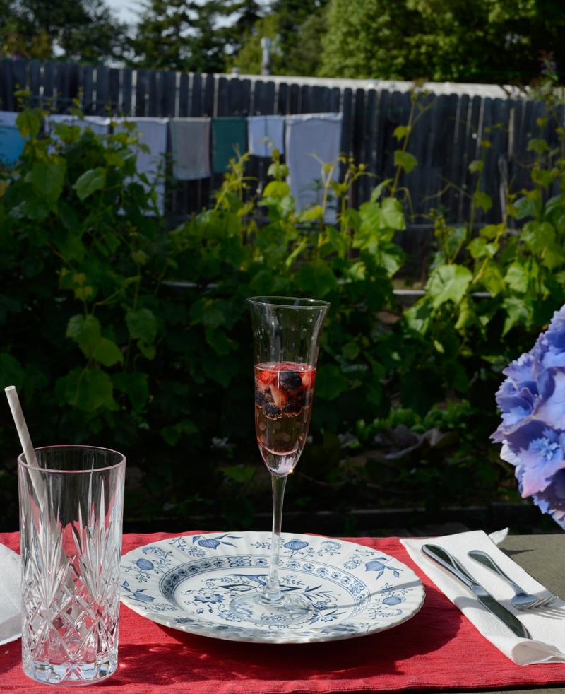 Champagne in the garden