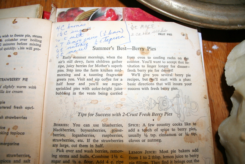 My grandma's blackberry pie recipe.  The stained and doodled-on page is a testament to the number of times the recipe has been used.