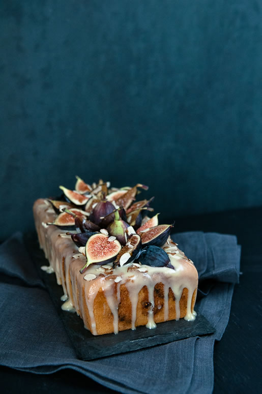 Fig Almond Tea Cake with Coconut Glaze