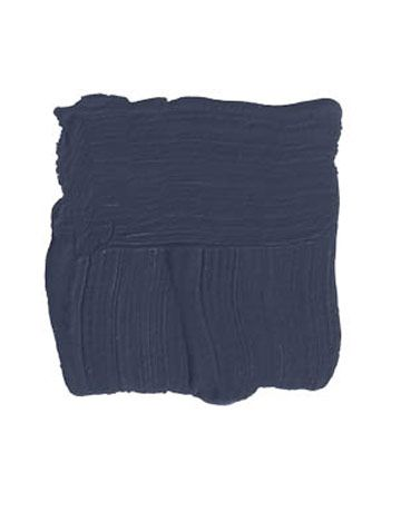 "Benjamin Moore Evening Sky 833 ""This is a deep, dark inky blue that can look almost black in the shade, but it turns into a rich, deep blue in the sun. It would look just as great on a stone house in the mountains as it would on a faded, silvery-shingled Cape Cod at the beach."""