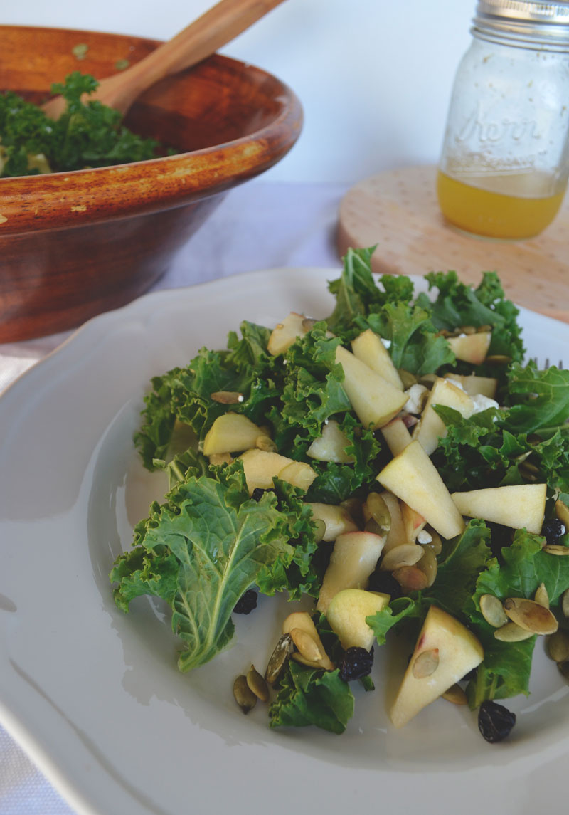 Kale Apple Goat Cheese Salad - winter salad perfection