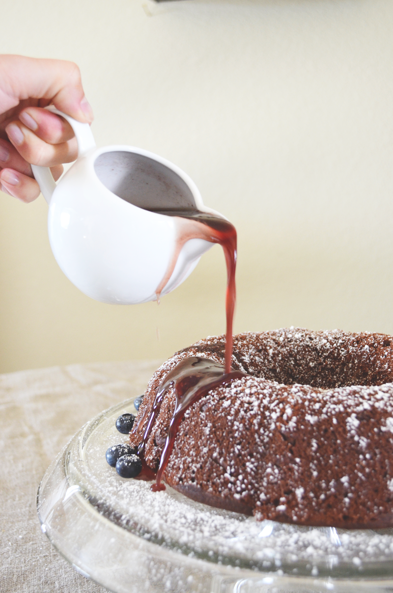 Gluten Free Red Wine Chocolate Bundt Cake