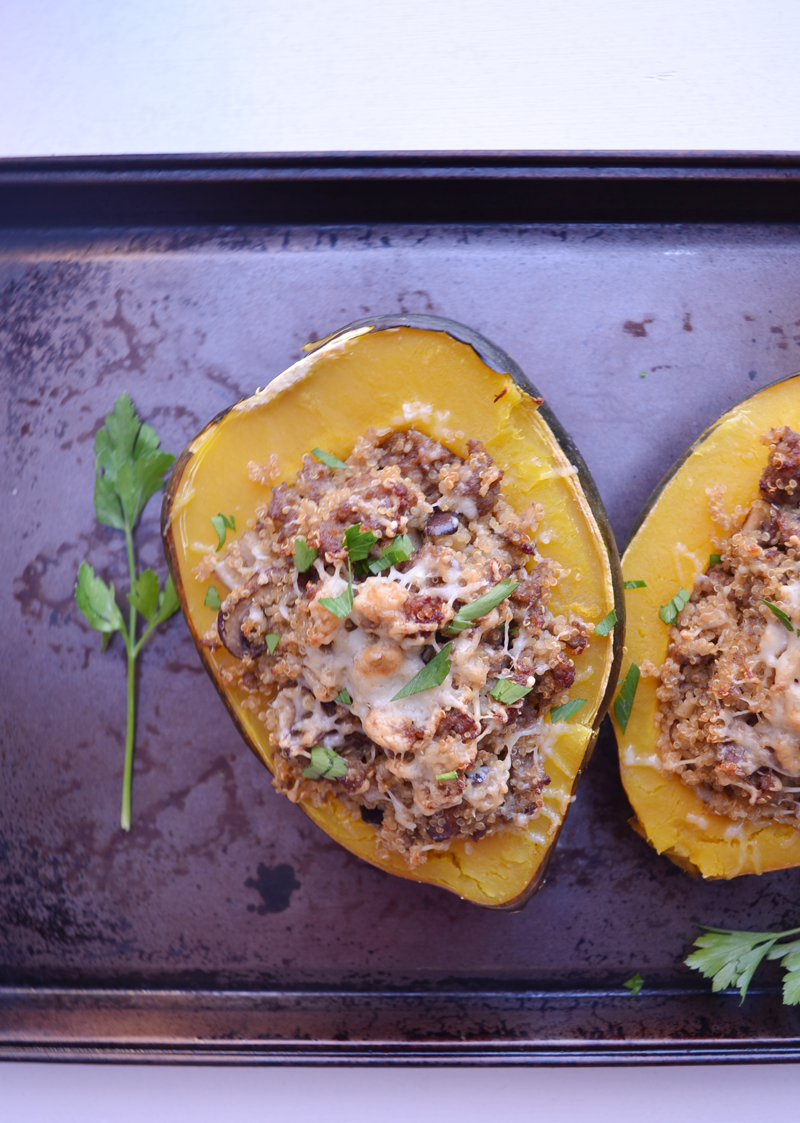 WINTER SQUASH STUFFED WITH QUINOA, SAUSAGE AND CIDER