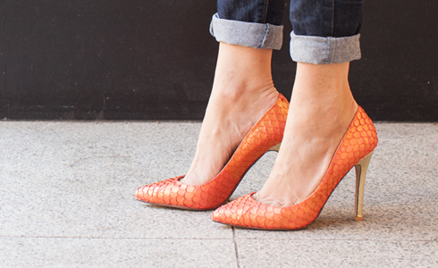 Orange & Gold Fishskin and Shiny Gold Snakeskin. With the shiny gold heel, these are probably best for True Spring, either Dramatic. Other Yang types could possibly wear them as an accent. Photo by Shoes of Prey.