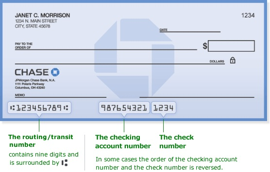 This is a picture of a check with routing and account numbers displayed.