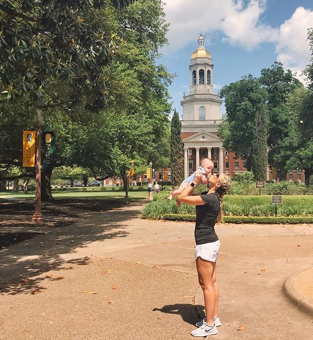 """10 years ago (😩😒), I stood quietly on this lawn with a handful of papers, wondering if I could do it. Freshman orientation. Thousands of faces. My mama stood beside me and whispered, """"You can do this."""" Oh, the full circle feels. #Baylor #MamaLove #ImOld"""