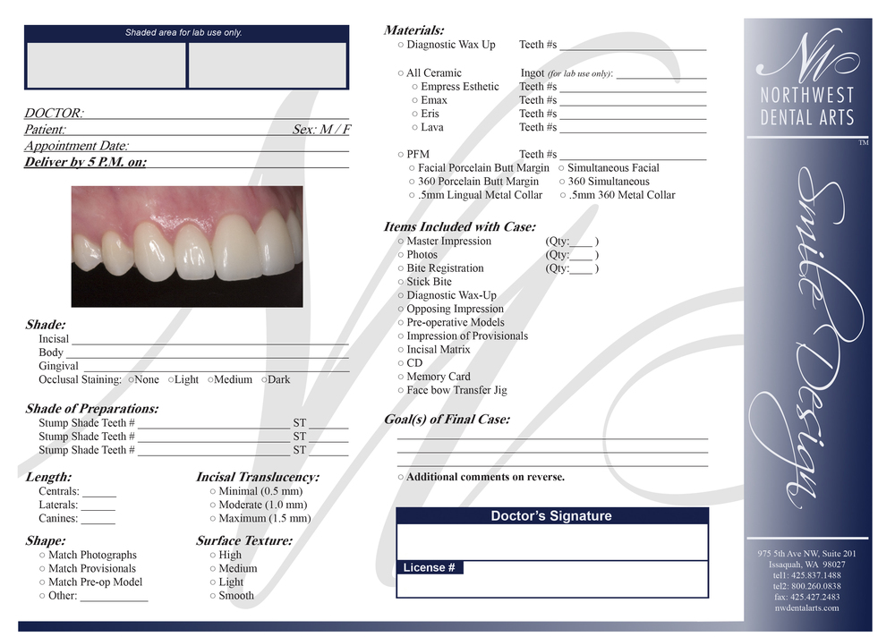 Click on our Smile Design Rx form above to view, download, and print.
