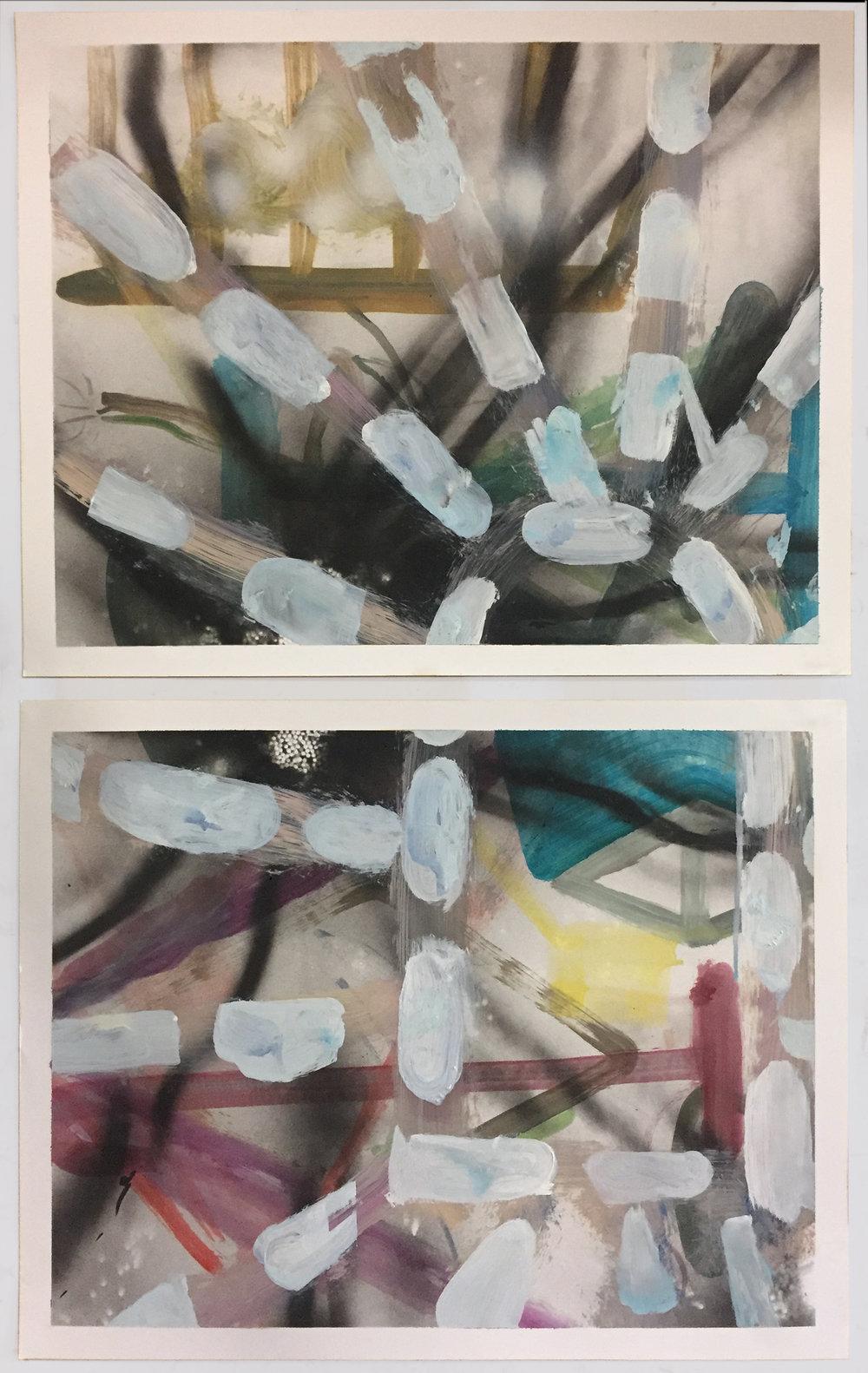 As Above, So Below  2018 oil on paper 19 x 24 in. each
