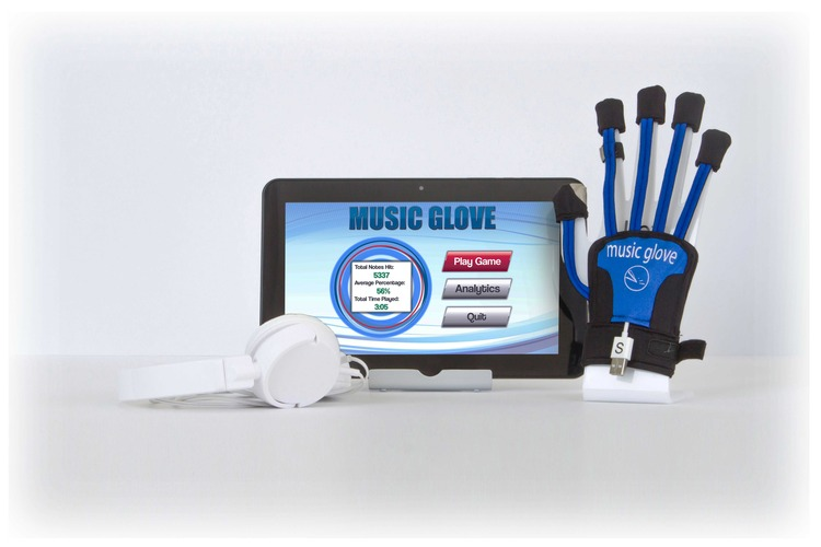 Picture of home version of MusicGlove that comes with the glove and a 10 inch tablet