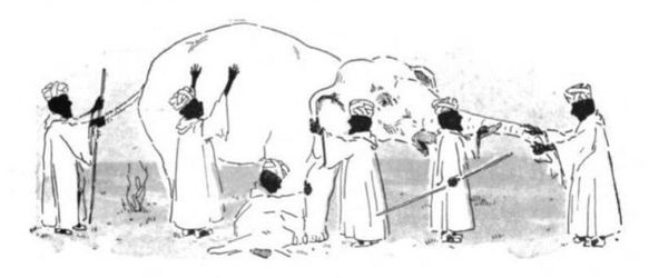 The fable of the blind men and the elephant: Each perceives only one part, on which he bases his (incorrect) conception of the whole animal. By contrast, one team's understanding of a domain concept may be entirely correct for that team's work, yet still inadequate to represent that concept for the business as a whole.