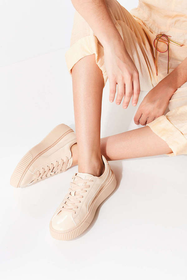 beige leather platform sneakers