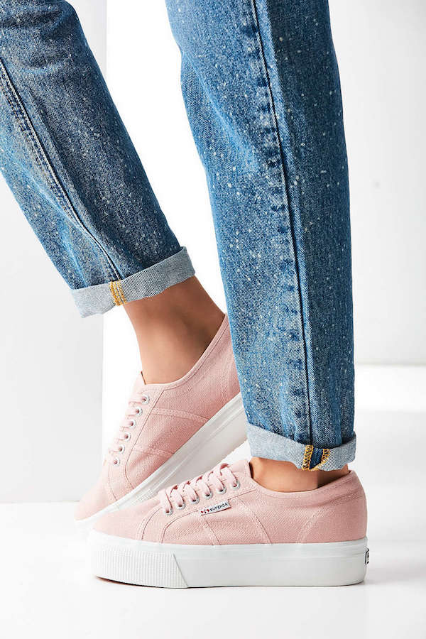 blush canvas platform sneakers by superga