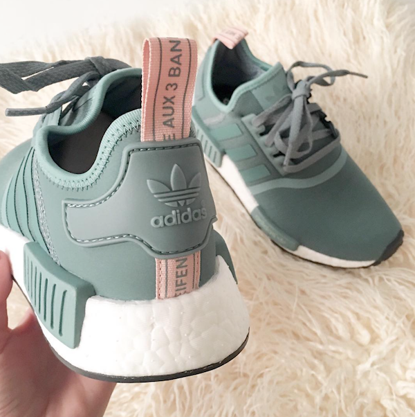 adidas NMD olive and blush sneakers
