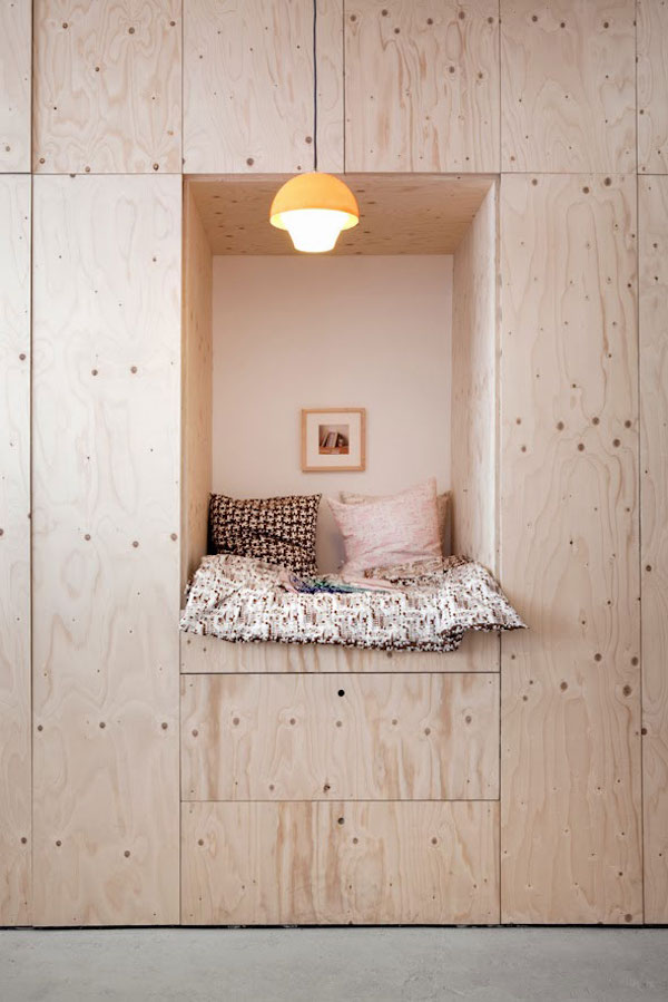 plywood reading nook