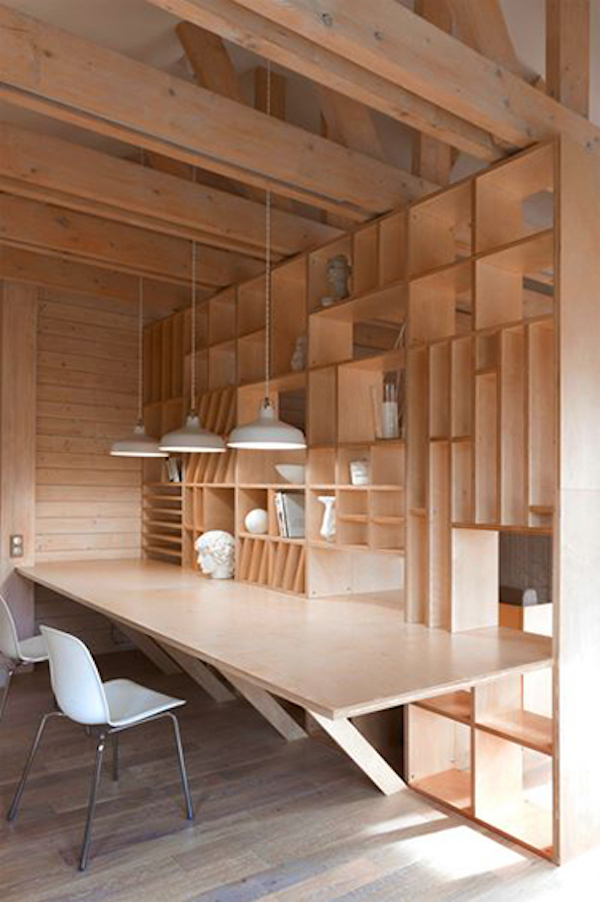 plywood shelving and workspace