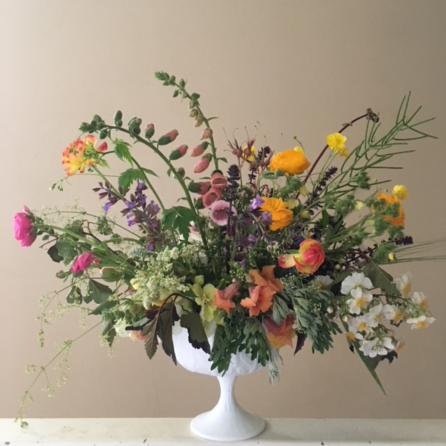"""""""I loved being a Flower Club member! Robin's arrangements are special and unique. And, in each vase, there was always an individual bloom or two (those dahlias!) that really amazed me. You can't find these varieties anywhere else in the area. My home always felt a little more magical when there was a Goode Farm arrangement in the living room"""". - Erica Wojcik, Saratoga Springs"""