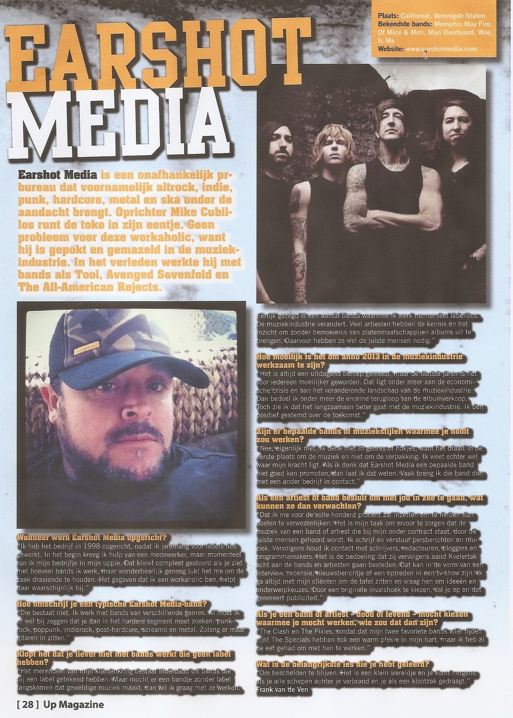 Earshot Media in Up Magazine (The Netherlands)