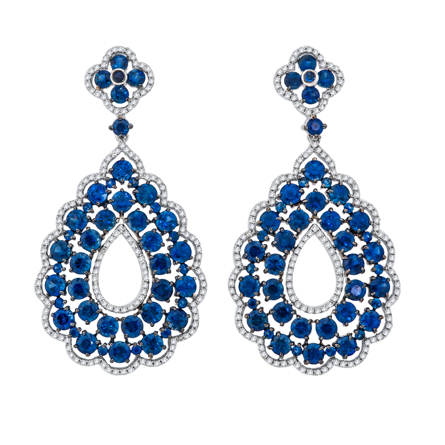 Art Nouveau sapphire and diamond earrings